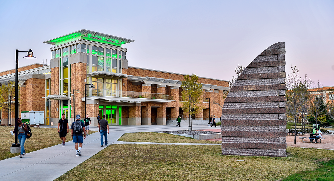 The UNT Union, with its iconic sculpture front-and-center.