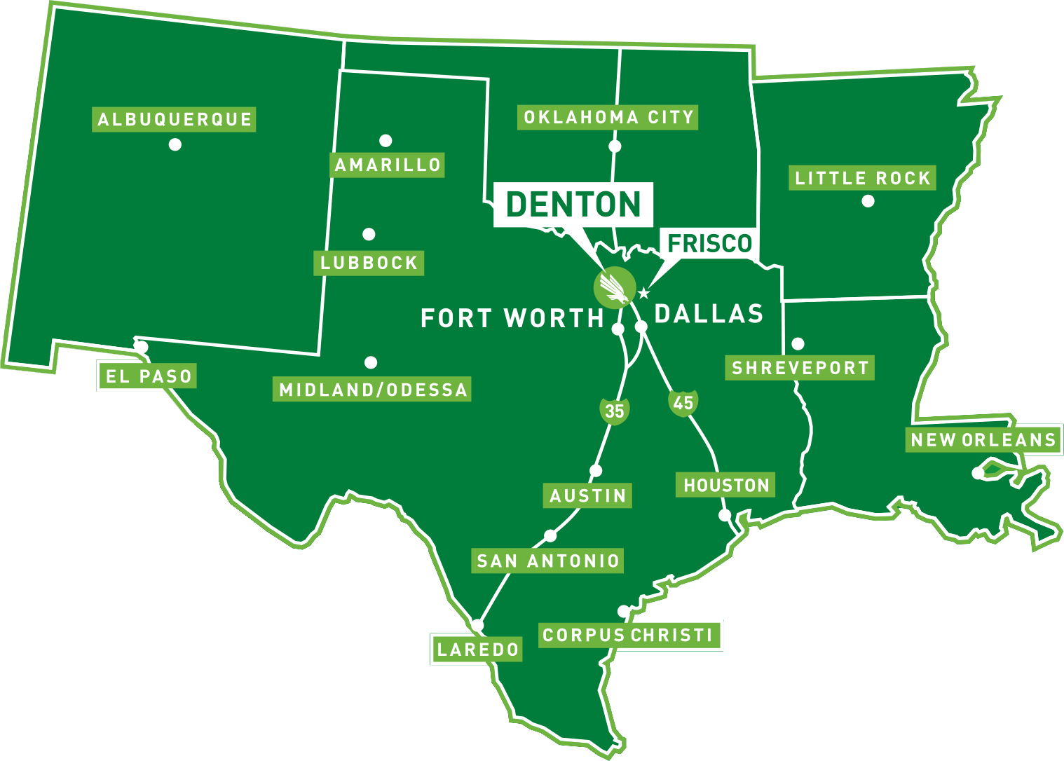 a map of Texas and surrounding states with the location of UNT's Denton and Frisco locations marked.